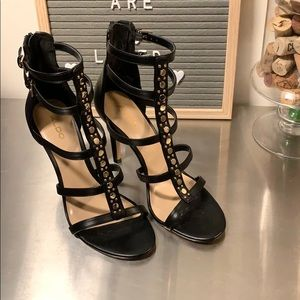ALDO Marula Black & Gold Strappy Heel   7